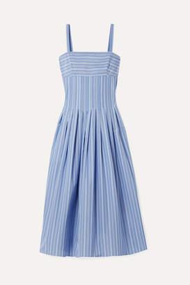 Rosetta Getty Pleated Striped Poplin Midi Dress - Blue