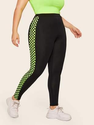 Shein Plus Contrast Neon Lime Checkered Leggings