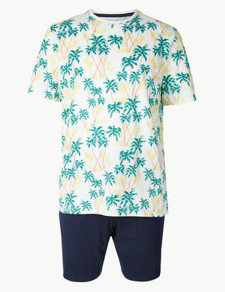 M&S CollectionMarks and Spencer Pure Cotton Palm Print Pyjama Shorts Set