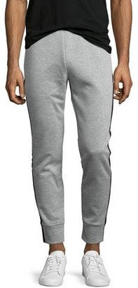 Theory Teknit Track-Stripe Jogger Pants, Gray $275 thestylecure.com