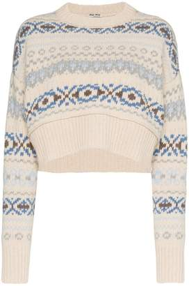 Miu Miu fair isle knitted cropped virgin wool sweater