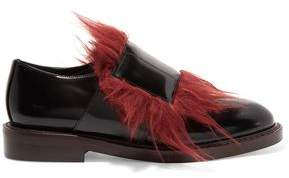Marni Goat Hair-Trimmed Leather Brogues