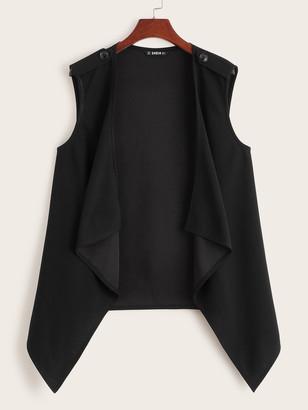 Shein Button Detail Draped Collar Asymmetrical Vest