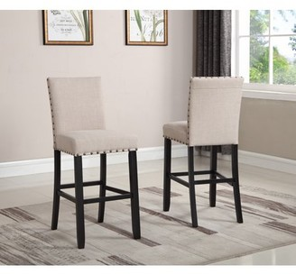 Roundhill Furniture Roundhill Biony Tan Fabric Bar Stools with Nailhead Trim, Set of 2