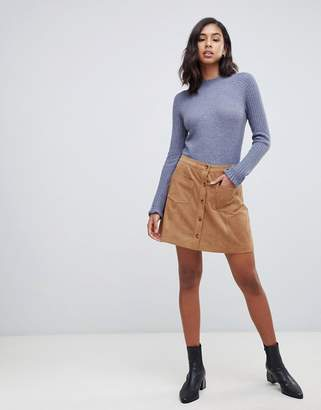 Abercrombie & Fitch suedette button through mini skirt