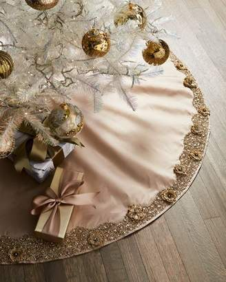 Gold Christmas Floral Tree Skirt