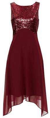 Wallis Petite Berry Embellished Asymmetric Dress