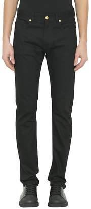 Versace Embroidered Cotton Denim Jeans