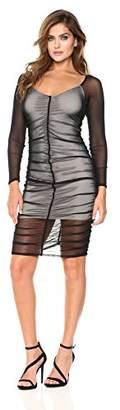 Velvet Rope Women's Long Sleeve Mesh V-Neck Ruched Dress With Lining
