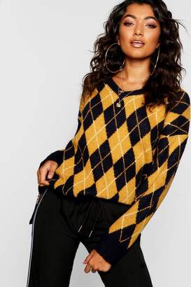 boohoo Soft Knit Argyle Jumper
