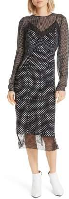Joie Alamea Dot & Lace Midi Dress