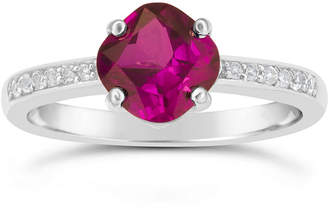 FINE JEWELRY Womens Red Lab-Created Ruby Ring in Sterling Silver