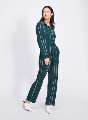 Miss Selfridge Green Striped Boiler Suit