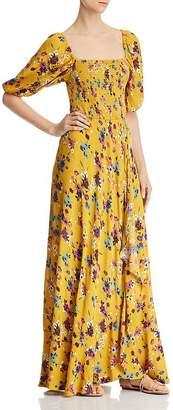 Band of Gypsies Madrid Smocked Floral-Print Maxi Dress