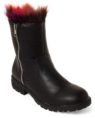 Steve Madden Kids Girls) Black Northie Faux Fur-Lined Boots