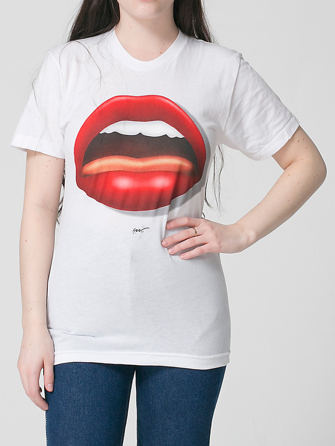 American Apparel Screen Printed Poly-Cotton Short Sleeve T-Shirt AAH-C. White