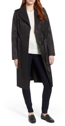 Via Spiga Faux Leather Trim Trench Coat