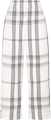 Brunello Cucinelli Checked Crinkled Cotton-blend Pants - White