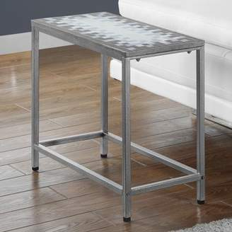 Monarch Specialties Tile Top Accent Side Table, Grey/Blue/Hammered Silver