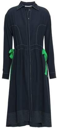 Agnona Bow-detailed Silk Crepe De Chine Shirt Dress