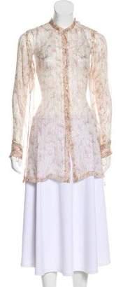 Dries Van Noten Silk Floral Long-Sleeve Tunic