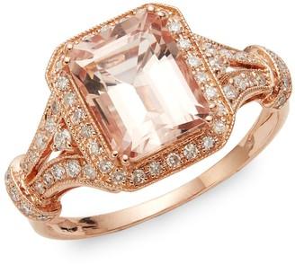 Effy 14K Rose Gold, Morganite & Diamond Ring