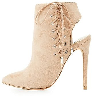 Corset Lace-Up Slingback Booties $38.99 thestylecure.com