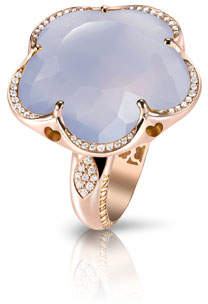Pasquale Bruni Bon Ton Chalcedony Flower Ring with Diamonds in 18K Rose Gold