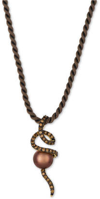 LeVian Le Vian Chocolatier Cultured Tahitian Brown Pearl (9-1/2mm) and Diamond (3/4 ct. t.w.) Silk Cord Pendant Necklace in 14k Gold
