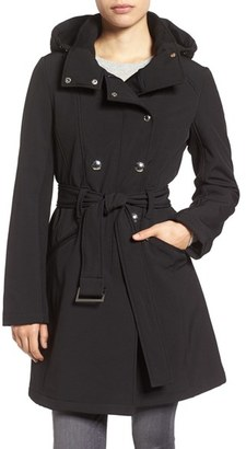 Women's Calvin Klein Double Breasted Soft Shell Trench Coat $228 thestylecure.com