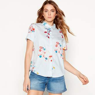 Noisy May Blue Floral Print Cotton Short Sleeve Shirt