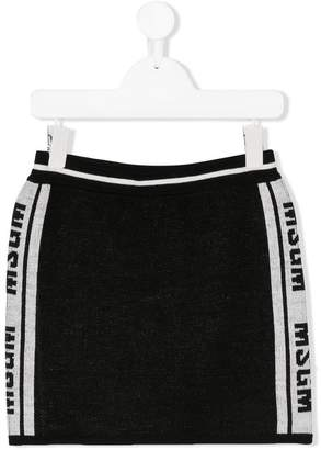 MSGM Kids logo stripe sided mini skirt