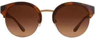 Burberry Eyewear Check Detail Round Half-frame Sunglasses