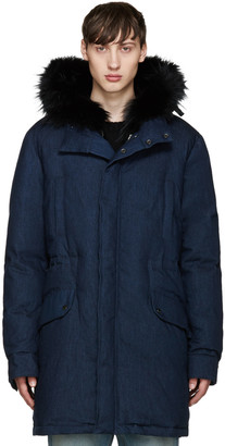 Yves Salomon Navy Denim Down & Fur Parka $2,495 thestylecure.com