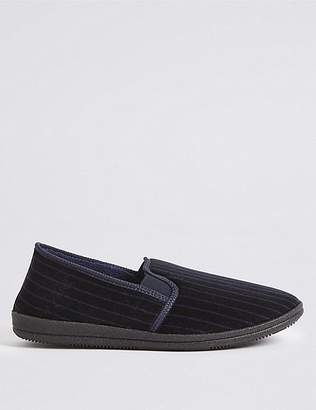 Marks and Spencer Velour Striped Slippers with ThinsulateTM