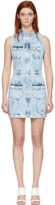 Balmain Blue Faded Denim Dress