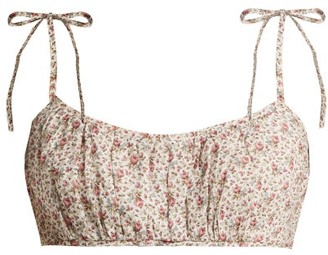 Zimmermann Heathers Floral Print Linen Cropped Top - Womens - White Print