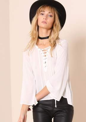 0fad78ca at Missy Empire · Missy Empire Missyempire Gloria White Lace Up Bell Sleeve  Blouse