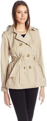 Madden-Girl Women's Double Breasted Medium Length Hooded Trench Coat