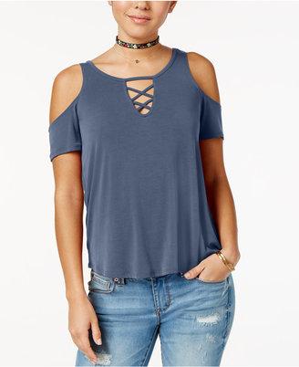 Planet Gold Juniors' Cold-Shoulder Lattice-Detail T-Shirt $24 thestylecure.com