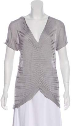 Armani Collezioni Ruched Knit Sweater Grey Ruched Knit Sweater