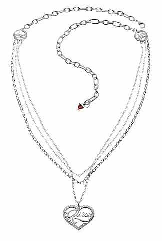 Guess Long multi chain heart pendant