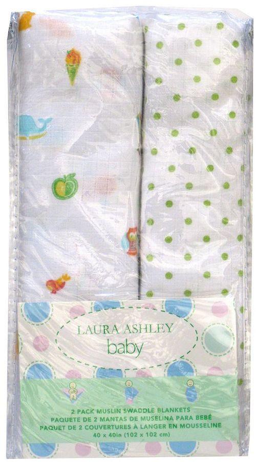 Laura Ashley owlphabet 2-pk. muslin swaddles - green
