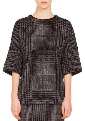 Akris Punto Round-Neck Elbow-Sleeve Metallic Houndstooth Jacquard Shirt