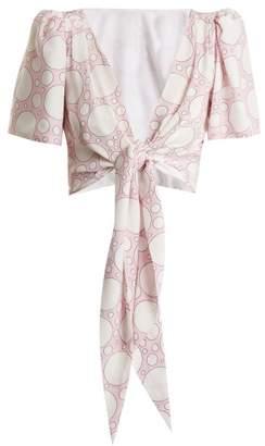 Rebecca De Ravenel - Talitha Polka Dot Print Tie Waist Cropped Top - Womens - Pink