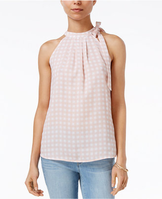 Maison Jules Gingham-Print Tie-Neck Top, Only at Macy's $49.50 thestylecure.com