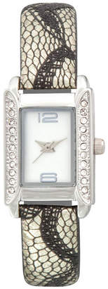 JCPenney FASHION WATCHES Womens Rectangular Crystal-Accent Glitz Strap Watch