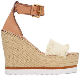 See by Chloe Off-White Glyn Wedge Espadrilles Sandals