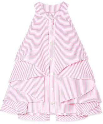 Caroline Constas Adrie Ruffled Striped Cotton-poplin Blouse - Fuchsia