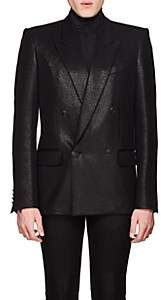 Givenchy Men's Coated Wool Twill Double-Breasted Sportcoat - Black